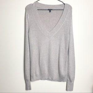 EXPRESS-Marled Deep V Neck Sweater